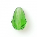 100196-5 Бусина хрустальная граненая, КАПЛЯ, 11х8 мм, зелёная