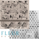 """Fleur Бумага для скрапбукинга, коллекция Механика """"НАДПИСИ"""" 30х30 см."""