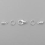 Набор фурнитуры для колье из шнурка, цвет серебро (Set-004-6)