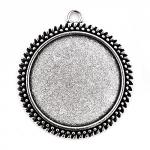 301307-1 Основа для кулона круглая, 38х43 мм, античное серебро