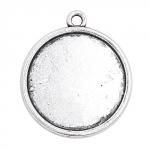 300144 Основа для кулона круглая, 23х26 мм., цвет античное серебро