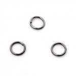 300764 Колечки открытые, цвет чёрный никель, 6 мм (50 шт.)