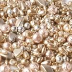 """Preciosa Стеклянные бусины ассорти """"Pearl"""", № 19 бежевые, 250 г."""
