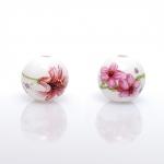 Zlatka Бусины керамические, Розовые цветы, 12 мм, (5 шт.)