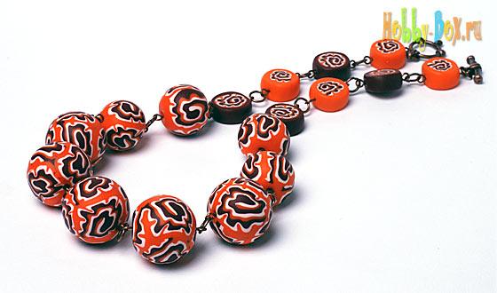 Оранжевое настроение - бусы из полимерной глины - Hobby-Box.ru
